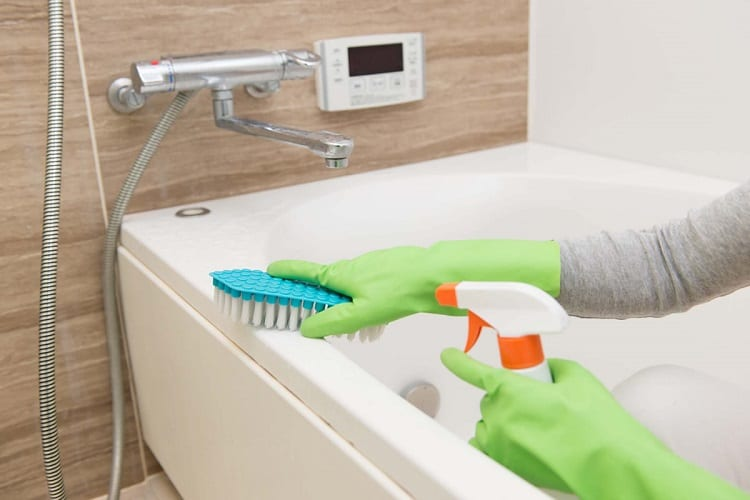 Woman Cleaning The Tub